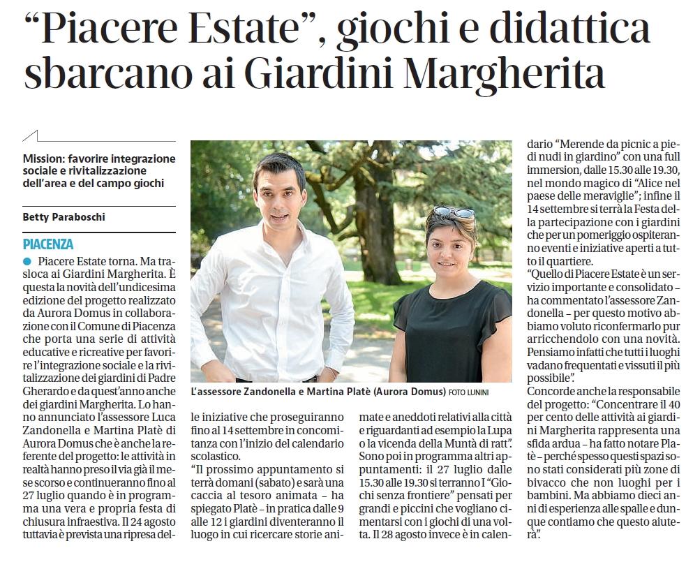 """""""Piacere estate"""" giochi e didattica ai giardini Margherita di Piacenza"""