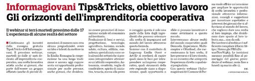 All'informagiovani di Parma webinar sugli orizzonti dell'imprenditoria cooperativa