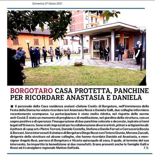 Borgotaro  Casa protetta, panchine per ricordare Anastasia e Daniela