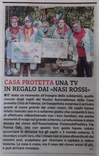 L'associazione ViviamoinPositivo Vip Parma dona un televisore maxischermo al nucleo Auroradomus della Cra di Fidenza