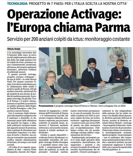 """Presentato l'innovativo progetto ACTIVAGE a cui partecipa anche Auroradomus - da """"La Gazzetta di Parma"""""""