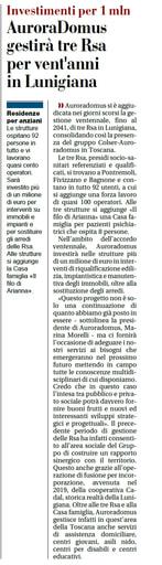 Gestione ventennale di 3 RSA in Lunigiana per Auroradomus