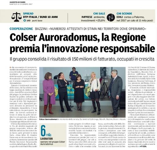"""La Regione premia l'innovazione responsabile del Gruppo Colser-Auroradomus - da """"La Gazzetta di Parma"""""""