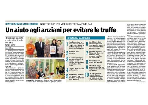 """Nello spazio di Socializzazione Auroradomus si parla di sicurezza - Da """"La Gazzetta di Parma"""""""
