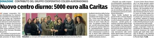 Centro diurno femminile Caritas di Parma: importante donazione del Gruppo Colser-Auroradomus