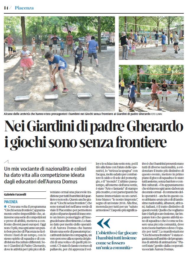 Nei Giardini di padre Gherardo a Piacenza, i giochi sono senza frontiere