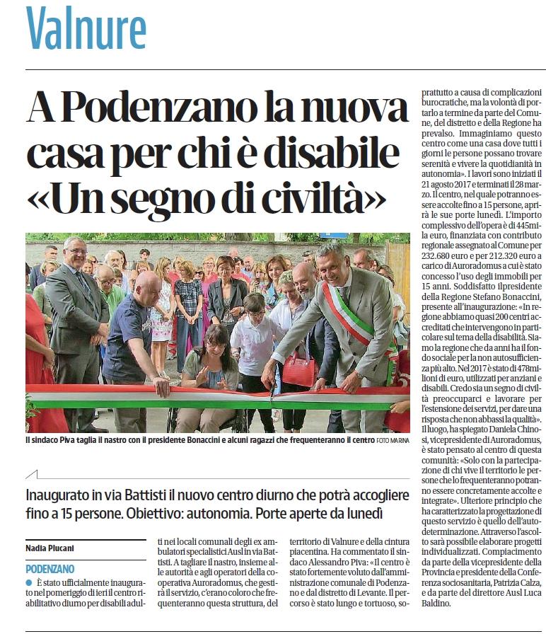 Inaugurazione centro socio riabilitativo diurno di Podenzano